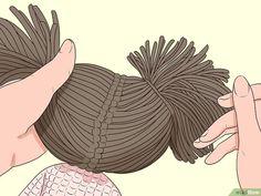 3 Ways to Make Amigurumi Hair - wikiHow Crochet Dolls Free Patterns, Amigurumi Patterns, Amigurumi Doll, Crochet Toys, Free Crochet, Knit Crochet, Crochet Ideas, Hair Patterns, Doll Patterns