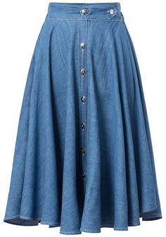 Falda denim plisada botones-azul