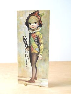 My fave of his!!!!!:) Vintage Maio Big Eyed Boy Litho • Harlequin Boy • Arthur a Kaplan Co Inc NYC by lisabretrostyle2 on Etsy