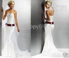 Wedding Dress With Crimson Sash I Dig It