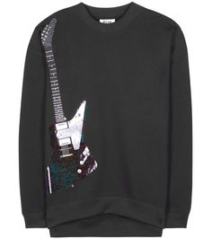 ACNE STUDIOS Beta Guitar Embellished Cotton-Blend Sweatshirt. #acnestudios #cloth #shirt