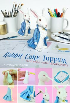[External] 18 new Pins for your Cake of the Month Club board Cake Topper Tutorial, Fondant Tutorial, Cake Toppers, Fondant Rabbit, Rabbit Cake, Marzipan, Foto Pastel, Biscuit, Fantasy Cake