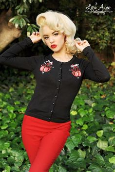 Atomic Cherry Pop Cardigan - Add a pop to your outfit with this embroidered cherry cardigan!  In cotton with a fantastic fit and embellished with satin bows.
