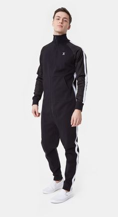 A key piece for the Chill jumpsuit in black has a retro sports style with track stripes down the arms and legs and satin contrast sleeves. Mode Masculine, Sport Fashion, Look Fashion, Fashion Clothes, Fashion Art, Womens Fashion, Street Casual Men, Black Jumpsuit, Casual Outfits
