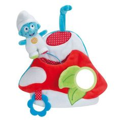 Jouet d'activité pour bébé en velours.  Jouet tout doux.  Hochet multi-activité.  Ce jouet en tissu est idéal comme cadeau de naissance.  Il permet à bébé de s'éveiller.  Jouet de bébé composé de :  un miroir, du papier bruissant, couinette, un anneau de dentition, un mini Schtroumpf.  Facile à saisir pour le bébé.  Boucle d'accroche Age : dès la naissance