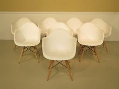 37526E: Set Of 8 Mid Century Modern Eames by StenellaAntiques