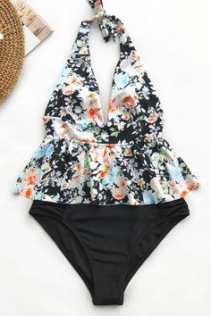 ANJUY Baby Girls One-Piece Swimsuits Flower Flounced Bikini Beachwear with Hat