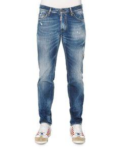 Slim-Fit Distressed Jeans, Light Wash, Size: 48 - Dsquared2