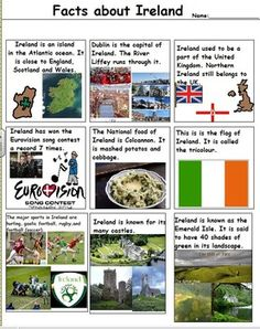 This is a folder of 4 Fact sheets about different countries and 1 sheet identifying landmarks from England. The four countries on the fact sheets are: Poland Ireland Germany Samoa The landmark sorting worksheet has famous landmarks of England on it.