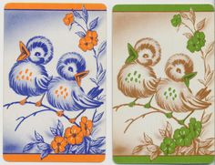 Vintage Playing Cards with Singing Birds Vintage Playing Cards, Tarot, Birds, Beautiful Things, Singing, Image, Bird