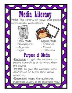 This file on media literacy includes an anchor chart on media and types of media. It also includes a chart where students list examples of media and their purpose. Media Literacy, Literacy Activities, Library Lessons, Library Skills, Information Literacy, Reading Anchor Charts, Balanced Literacy, Media Studies, Authors Purpose