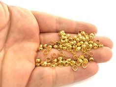 20 Gold Plated Brass Rondelle Beads 20 Pcs 5x3 mm by AZsupplies