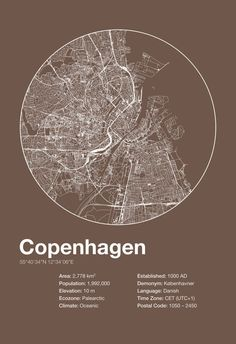 Street Map Art City Print - Copenhagen, Denmark - Minimalist Map of Copenhagen Poster Infographic Swiss Style Helvetica Modernist Print Poster Design, Map Design, Copenhagen Map, Urban Design Diagram, City Map Poster, Mothers Day Crafts For Kids, Wall Art Designs, Modern Wall Art, City Print
