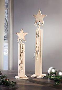 Lovely Deko S ulen Stern cm Holzs ulen Shabby Chic Weihnachtsdeko Weihnachten Advent in M bel u Wohnen