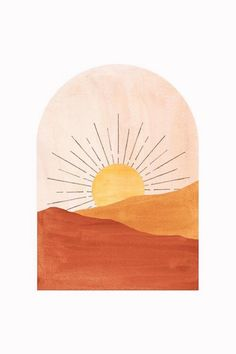 Abstract Geometric Sunset Art Print by Whales Way Painting Inspiration, Art Inspo, Art Minimaliste, Sunset Art, Sunset Canvas, Sunset Quotes, Minimalist Art, Minimalist Painting, Diy Art