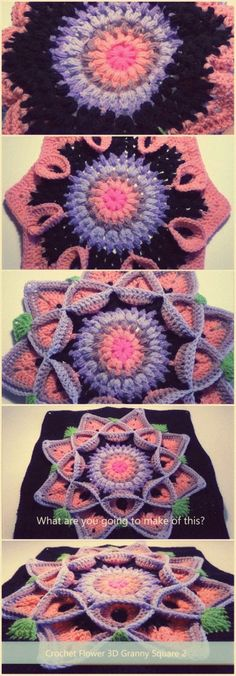 Another great video tutorial how to Crochet Flower 3D Granny Square 2 - from CrochetedWorld. This Granny Square Is Amazing. It's a make of art!