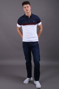 Jutland Short Sleeved White Polo Shirt Jutland Short Sleeved White Polo Shirt in Burgundy, Navy & Wine Our Jutland Short Sleeved White Polo Shirt features: Button down polo With contrasting chest panel, collar & buttoning Cotton- Cool Machine Wash Casual Street Style, Work Casual, Men Casual, Camisa Polo, Fashion Wear, Trendy Fashion, Mens Fashion, Virgo Men, Modern Gentleman