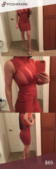 Marsala Mesh Bandage Dress 🔥 NEW WITH TAGS. Okay, how sexy is this dress?! Beautiful Marsala color with mesh inserts on the chest and the back. The lines in the front lay perfect so it covers your nipples if you don't want to wear a bra or anything. Hidden zipper in the back. NOT Bebe, just for exposure. bebe Dresses Mini