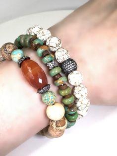 Oxidized Silver Pave Stretch Beaded Bracelets by doolittlejewelry Bohemian Bracelets, Gemstone Bracelets, Handmade Bracelets, Fashion Bracelets, Handmade Jewelry, Beaded Jewelry Designs, Bracelet Designs, Jewelry Ideas, Jewelry Accessories