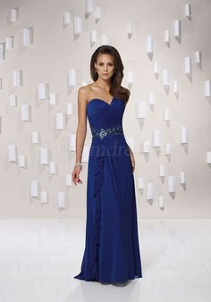 Chiffon Ruching One Shoulder Ruffles Royal Blue Mother of the Bride Dresses picture 1