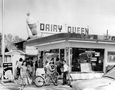 Opening day in 1957 at the Dairy Queen located at 11334 Moorpark Street (at the southwest corner of Elmer) in Studio City, now the site of the Girasol Restaurant. Via Cara FromTimmyNolans on Pinterest