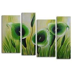 "My Art Outlet Hand Painted ""Green Memory Roots"" 4-Piece Canvas Art Set  $97 Wayfair.com"