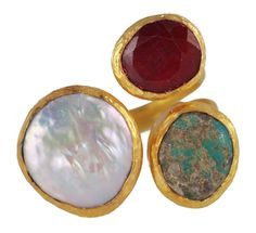 Three Stone ring: Mabe pearl, Ruby & Turquoise