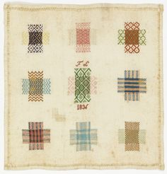 Small square sampler with nine squares of pattern darning, one simulating knitting. Above and below the center square are the initials F. and the date Hemmed on four sides with a decorative hemstitch. Textile Patterns, Textile Prints, Textiles, Design Museum, Make Do And Mend, Embroidery Sampler, Little Stitch, Sewing Baskets, Border Pattern