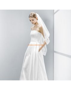 Schlichte trägerlose A-linie Brautkleider aus Satin mit Bansd- Jesús Peiró