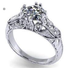 Unique diamond engagement ring. Filigree. Milgrain.  #seneedhamjewelers #loganutah 90792C