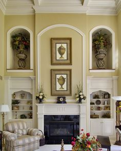 Tall vaulted ceilings with simple yet elegant fireplace woodwork
