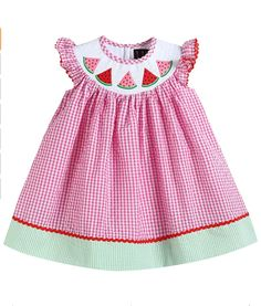 Sure to be your little girl's favorite dress! Lightweight, comfortable, and ready to play! Girls Smocked Dresses, Girls Casual Dresses, Little Girl Dresses, Midi Dresses, Watermelon Dress, Sweet Watermelon, Pink Gingham, Gingham Check, Gingham Dress