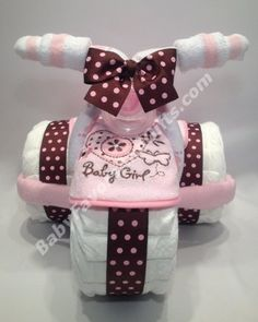 Tricycle Diaper Cake for Girl by BabyFavorsAndGifts.com