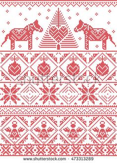 Scandinavian Printed Textile inspired festive winter seamless pattern in cross stitch with Christmas tree, snowflake, Danish style Dala horse decoration, angel, bauble, heart, decorative ornaments