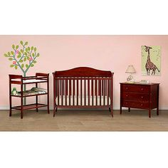 Baby Mod - Bella 4-in-1 Fixed Side Crib, Changing Table and Clothing Organizer, Cherry $299