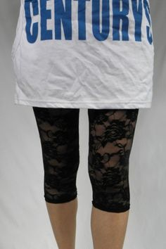 The leggings crafted in lace, featuring transparent sexy lace design, knee length and slim fit.$16