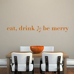 Kitchen Vinyl Wall Decal Dinning Room Wall Quote Wall Art Sticker Wall Letters Wall Mural Wall Graphic Home Decoration  eatdrink  be merry Black ** Click image for more details.