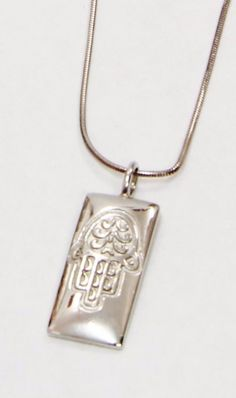 "Sterling Silver .925 Cute Rectangle Hamsa Hand Pendant Long 26"" Necklace 650720 #Unbranded #pendant"