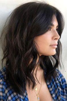 Medium Dark Hair, Short Dark Hair, Bangs With Medium Hair, Medium Hair Cuts, Medium Hair Styles, Short Hair Styles, Short Hair Long Bangs, Shoulder Length Hair With Bangs, Haircut Short
