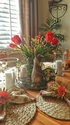 Spring table decor/vignette
