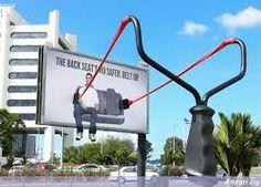 Hold tight, this billboard and prop definitely catch your attention and spread an important message about safety.