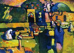 Wassily Kandinsky, Arabes (Cimetière) (détail) 1909 - huile sur carton. Hamburger Kunsthalle. Succession Wassily Kandinsky / SODRAC (2014). Exposition à l'affiche au Musée des Beaux-Arts de Montréal jusqu'au 25 janvier 2015: de Van Gogh à Kandinsky: de l'impressionnisme à l'expressionnisme.