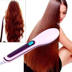 Brosse à cheveux Lisseur Hair Brush Straightener LCD Temperature Control Comb