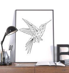 Polygon Art Large Geometric Print by AycaAtalayCreative on Etsy
