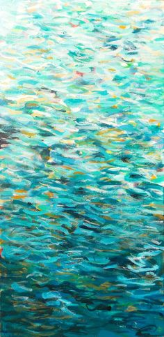 Long Abstract Turquoise Painting Original Canvas by JessicaTorrant