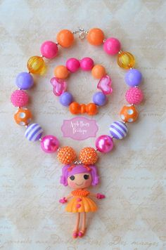 Items similar to Lalaloopsy Mini Peanut Big Top Doll lala loopsy Chunky Necklace Bracelet Set on Etsy Little Girl Jewelry, Baby Jewelry, Kids Jewelry, Beaded Jewelry, Chunky Bead Necklaces, Chunky Beads, Kids Necklace, Girls Necklaces, Lalaloopsy Mini