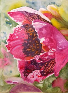 This orchid is sparkling in the light. By Terry Mulrooney Watercolor Bird, Watercolour Painting, Watercolour Tutorials, Fruit Art, Love Painting, Magazine Art, Art Forms, Flower Art, Flower Paintings