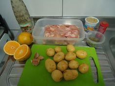Frango com batatas no molho de laranja, foto 3 Potatoes, Eggs, Vegetables, Breakfast, Food, Mop Sauce, Main Courses, Orange, Cooking