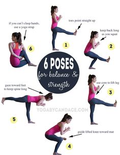 Pin it! 6 Yoga Poses for Balance and Strength Wearing: Leggings, splendid top (similar-on sale), athleta bra (similar).