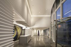 #HIMACS #wallcladding for the entrance lobby of the West Plaza Office Complex in Paris.